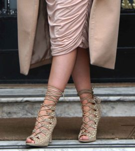 Charlotte Luck Missguided JustFab Camel Coat Ruched Skirt