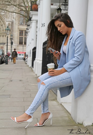 Charlotte Luck MissSelfridge powder blue pastel denim starbucks white babyblue