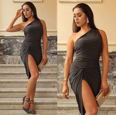 Charlotte Luck Khaki Riccarda Dress Drape Gold Laceup heels zara celeb boutique houseofcb